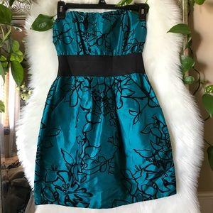 Sz 3 teal black formal dress